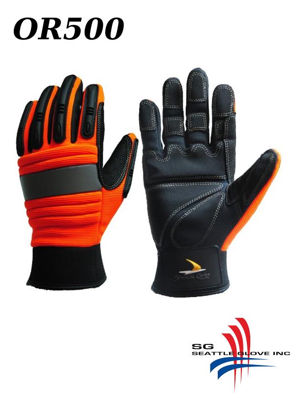 Seattle Glove OR500, Hi Vis Orange Synthetic Leather Shock Grip, Oil Resistant Gloves/$ per Pair