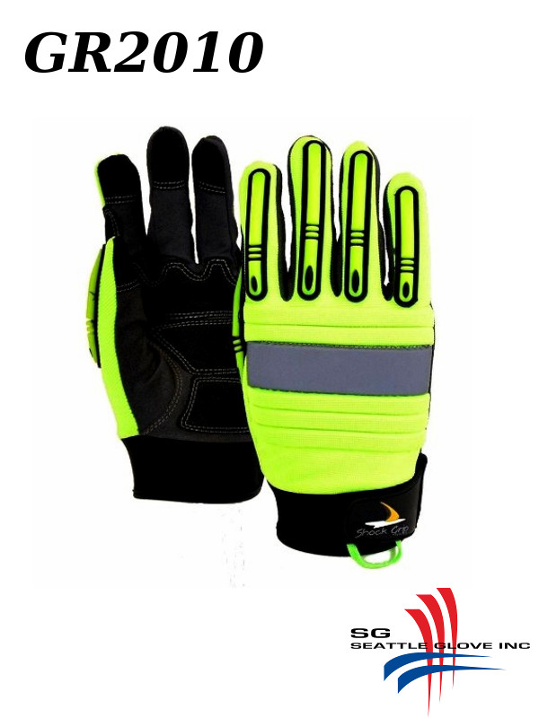 Seattle Glove GR2010, Hi Vis Green Mechanics Glove, Impact Resistant and Anti-Vibration/$ per Pair