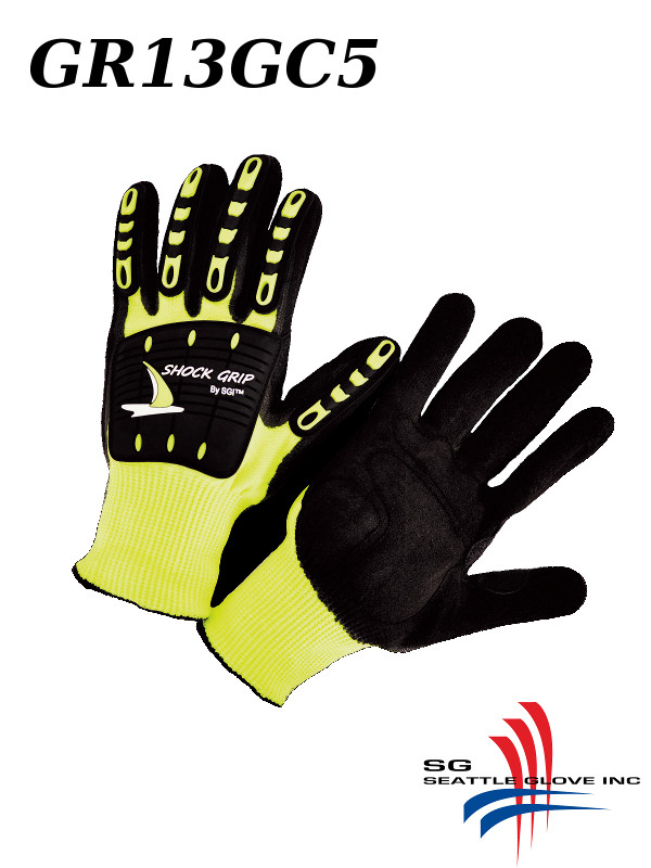 Seattle Glove GR13GC5, Shock Grip, HPPE, Multi-Task Glove with Nitrile Palm and TPR Padded Back, Mechanics Shock Grip, Cut Level 4/$ per Pair