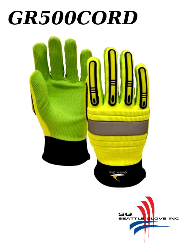 Seattle Glove GR500CORD, Hi Vis Green, Corded Cotton Palm, Impact Resistant and Anti-Vibration, PULL ON Style/$ per Pair