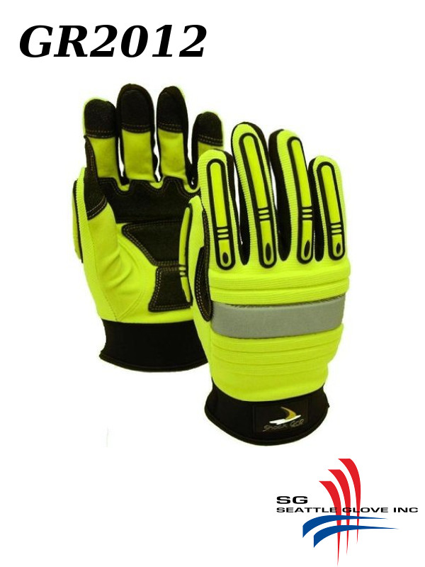 Seattle Glove GR2012, Hi Vis Green Synthetic Leather SLIP ON Mechanics Glove, Impact Resistant and Anti-Vibration/$ per Pair