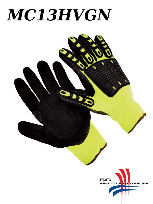 Seattle Glove MC13HVGN, Shock Grip, 13 Guage Hi-Vis Green Polyester Shell, Black Sandy Nirtirle/$ per Pair