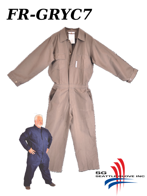 Seattle Glove FR-GRYC7, Fire Retardant Grey Cotton Coveralls, Up to 7XL Tall/$ per Pair