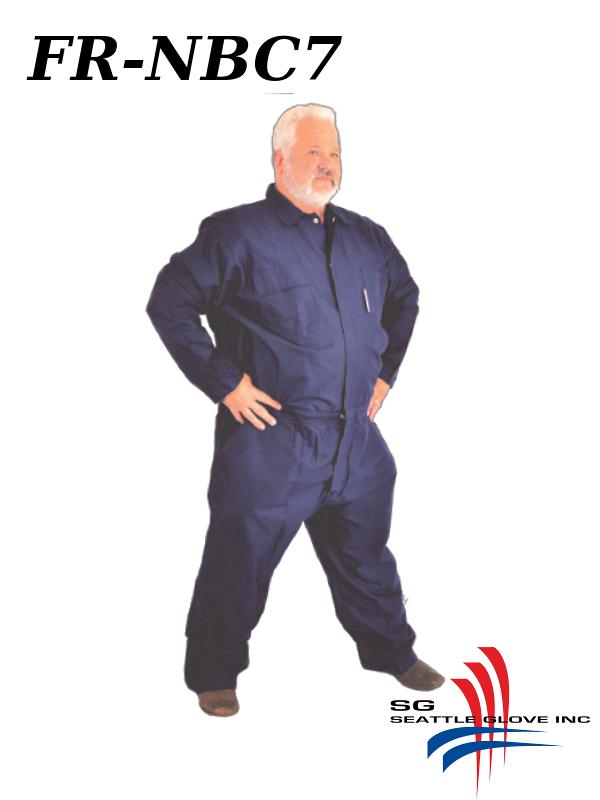 Seattle Glove FR-NBC7, Fire Retardant Navy Blue Cotton Coveralls/$ per Pair
