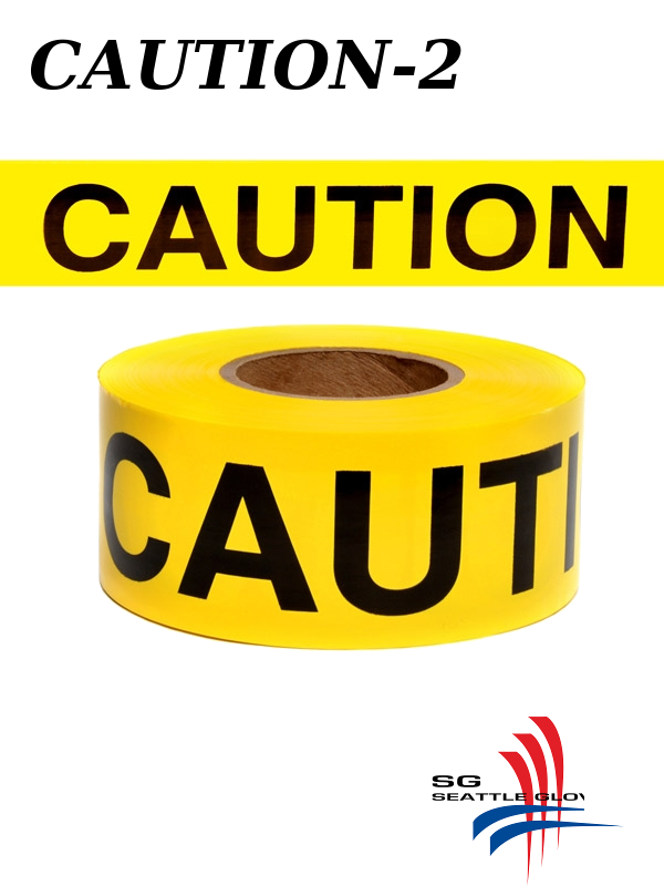 """Seattle Glove Caution-2, Yellow Caution Tape, 3"""" Inches X 1,000 Feet, 2 Mil./$ per Roll"""