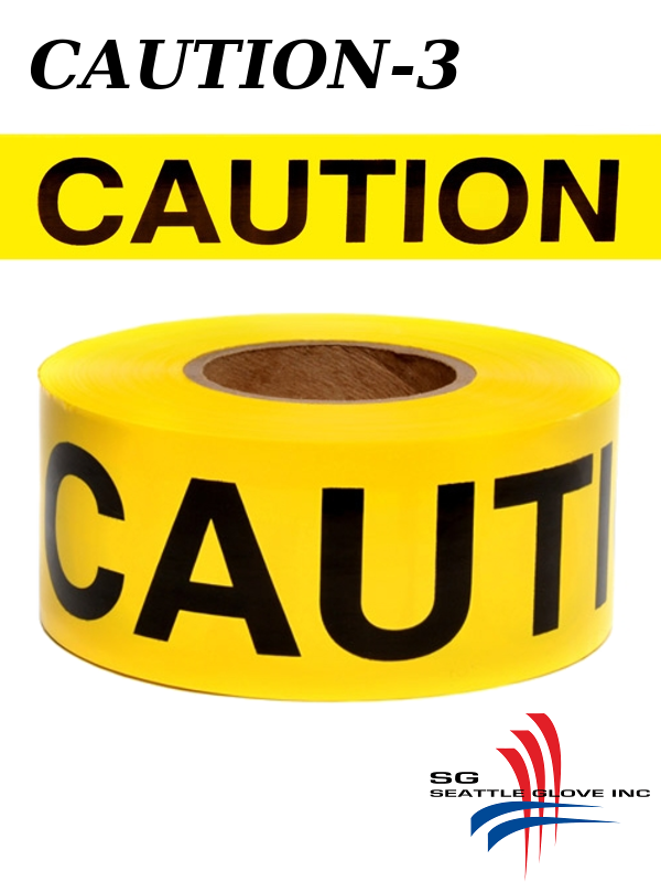 """Seattle Glove Caution-3, Yellow Caution Tape, 3"""" Inches X 1,000 Feet, 3 Mil./$ per Roll"""