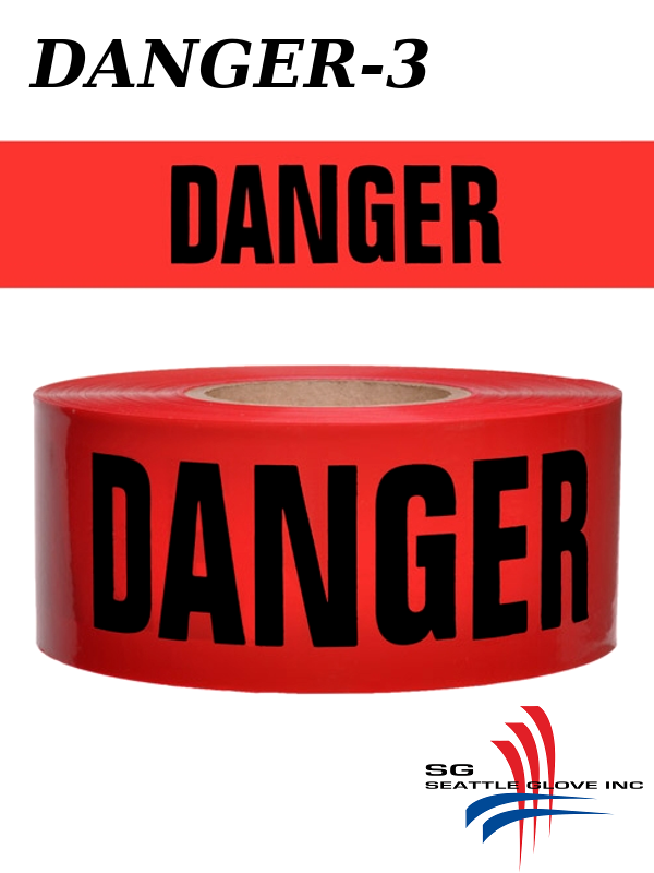 """Seattle Glove Danger-3, Red Danger Tape, 3"""" Inches X 1,000 Feet, 3 Mil./$ per Roll"""