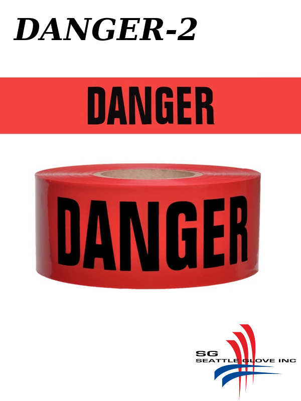 """Seattle Glove Danger-2, Red Danger Tape, 3"""" Inches X 1,000 Feet, 2 Mil./$ per Roll"""