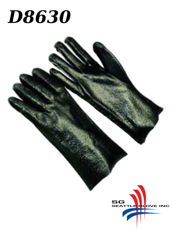 """Seattle Glove D8630, PVC Coated, 10/12/14/18"""" Length Gloves with Rough Finished Palm/Grip and Interlock Lining/$ per Dozen"""