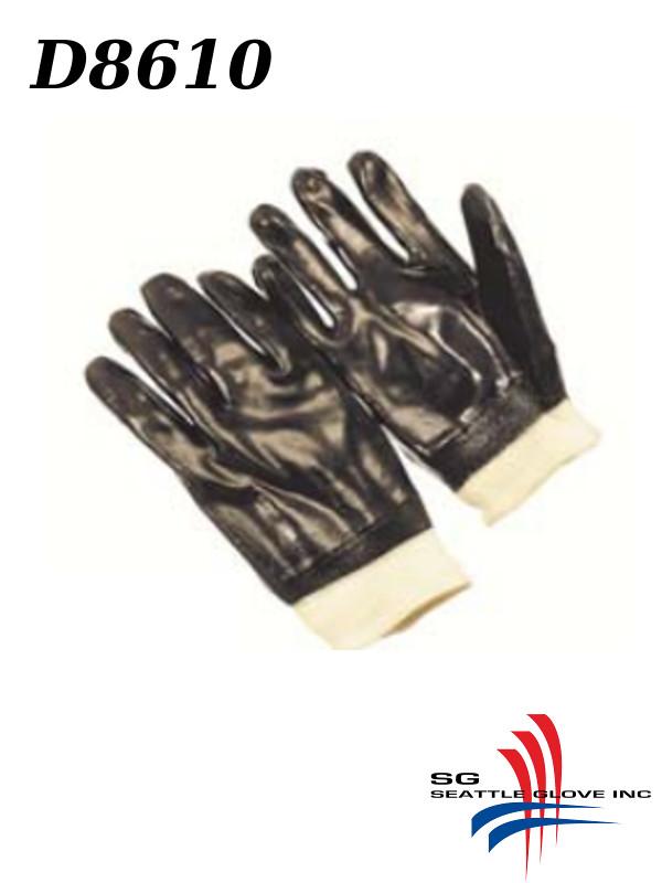 Seattle Glove D8610, PVC Coated Rough Finish, Interlock Lined Gloves with Knit Wrist/$ per Dozen