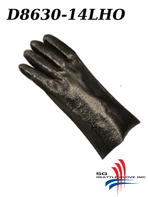 "Seattle Glove D8630-14LHO, LEFT HAND ONLY, PVC Coated, 14"" Rough Finish, Interlock Lined Gloves/$ per Dozen"
