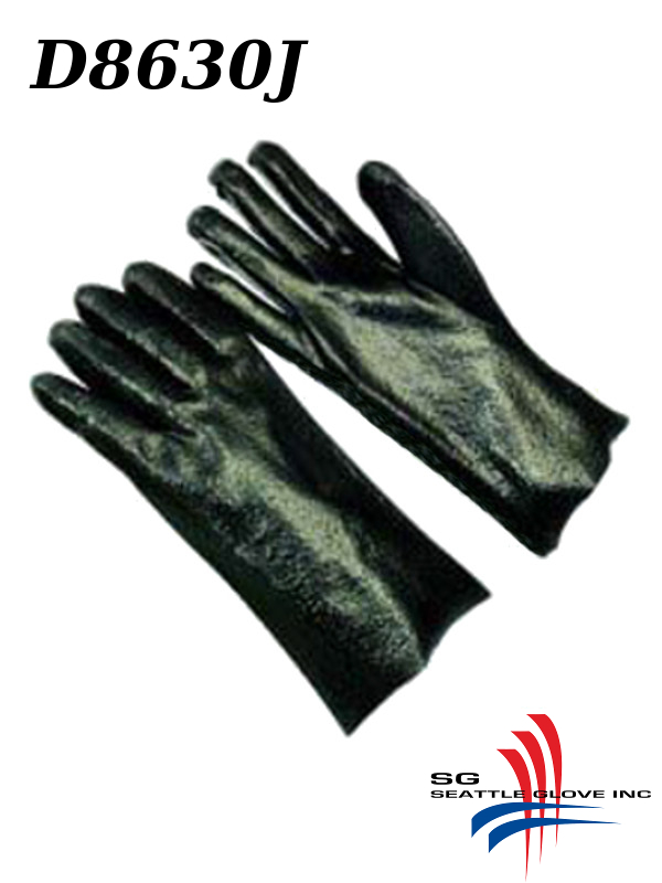"""Seattle Glove D8630J, PVC Coated Rough Finish, Jersey Lined, 12"""" and 14"""" Black Gloves with Gauntlet Cuff/$ per Dozen"""
