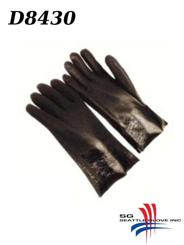 """Seattle Glove D8430, PVC Coated 10"""", 12"""" and 14"""" Gloves with Sandy Finish and Interlock Lining/$ per Dozen"""