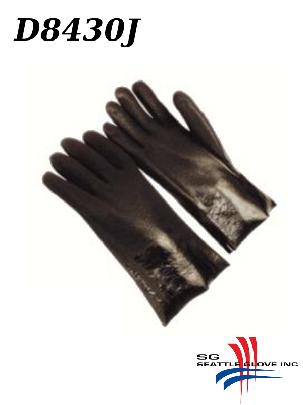 """Seattle Glove D8430J, PVC Coated, 12"""" and 14"""" Gloves with Sandy Finish and Jersey Lining/$ per Dozen"""