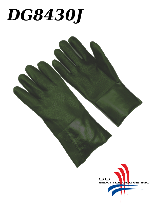 """Seattle Glove DG8430J, Green PVC Coated, 12"""" and 14"""" Gloves with Sandy Finish and Jersey Lining/$ per Dozen"""