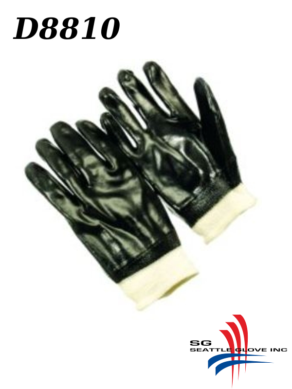 Seattle Glove D8810, PVC Coated, Smooth Finish, Interlock Lined Black Gloves with Knit Wrist/$ per Dozen