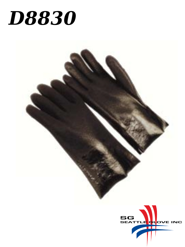 """Seattle Glove D8830, PVC Coated, 10/12/14/18"""" Length Gloves with Smooth Finished Palm/Grip and Interlock Lining/$ per Dozen"""