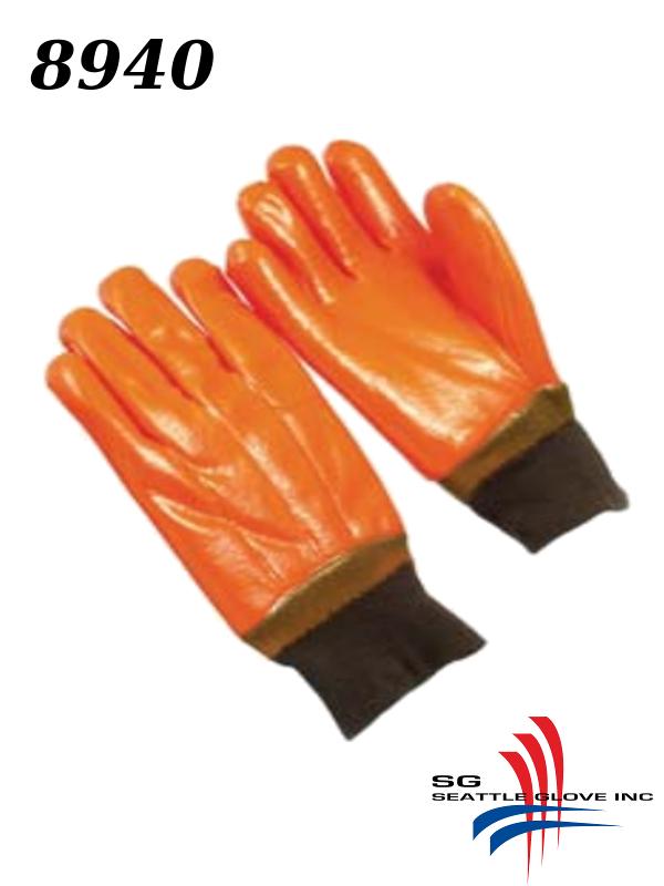 "Seattle Glove 8940, Fluorescent Orange PVC Coating, Foam Over Jersey Lining: Knit Top, Band Top OR 12"" Gauntlet/$ per Dozen"