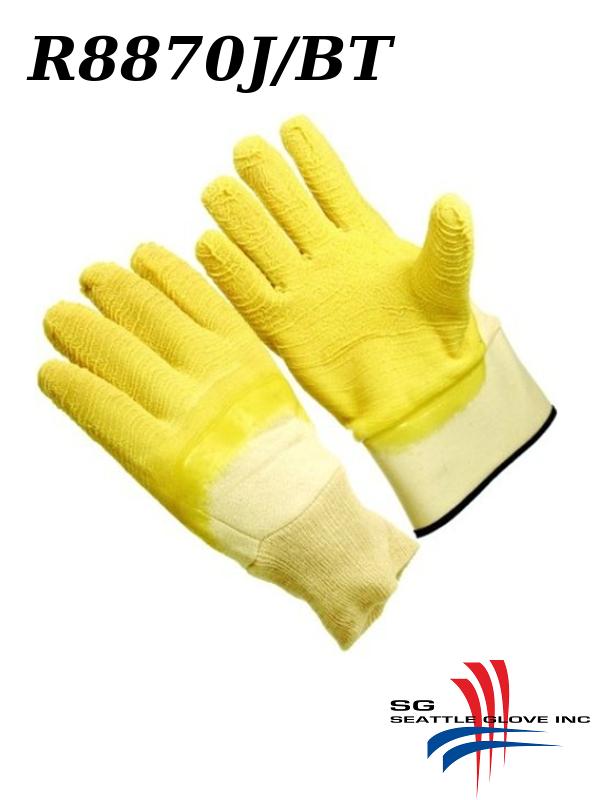 Seattle Glove R8870J/R8870JBT, Yellow Rubber Palm Coated, Knit Wrist or Band Top, Jersey Lining, Wrinkle Finish/$ per Dozen       /