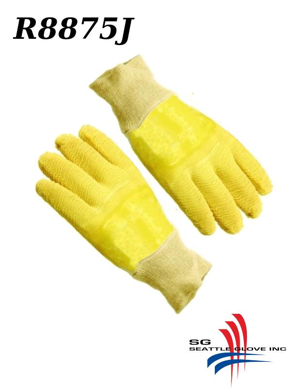 Seattle Glove R8875J, Yellow Rubber Fully Coated, Knit Wrist, Jersey Lining, Wrinkle Finish/$ per Dozen