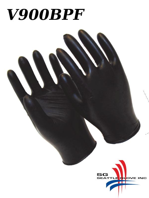 Seattle Glove V900BPF,  Powdered Free, Industrial Grade, 4 Mil Black Nitrile Disposable Gloves/$ per Case of 1,000