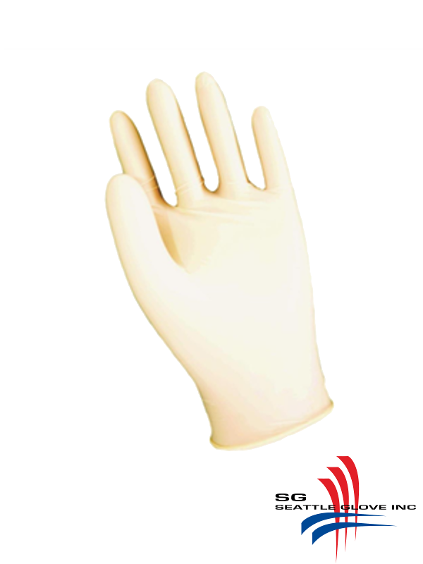 Seattle Glove V700,  Lightly Powdered, Industrial Grade, 4 Mil White Latex Disposable Gloves/$ per Case of 1,000