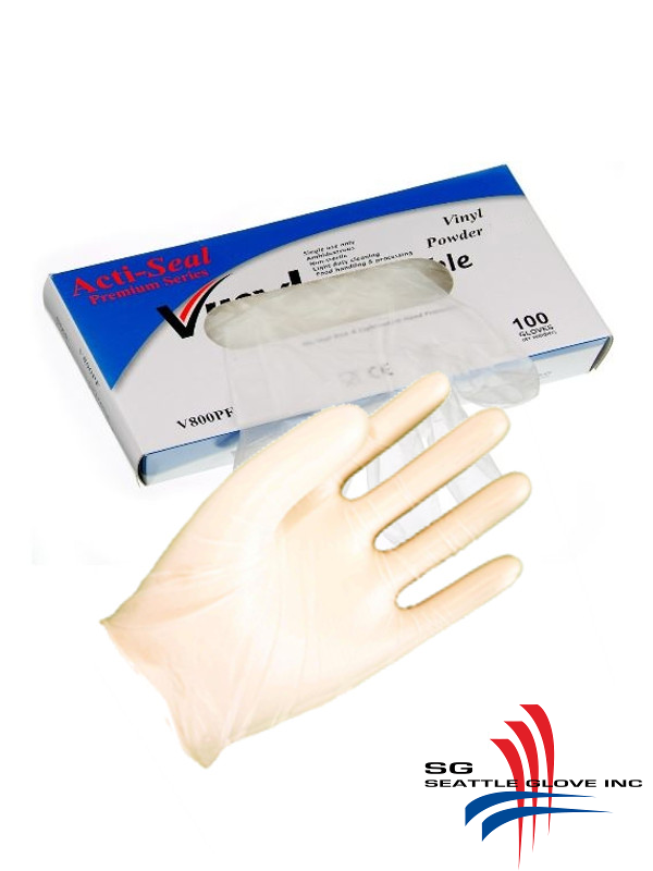 Seattle Glove V800,  Lightly Powdered, Industrial Grade, Clear Vinyl Disposable Gloves/$ per Case of 1,000