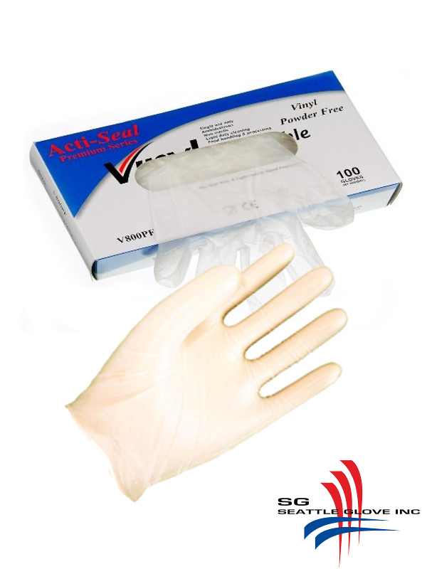 Seattle Glove V800PF, Industrial Grade, Powder Free, Clear Vinyl Disposable Gloves/$ per Case of 1,000