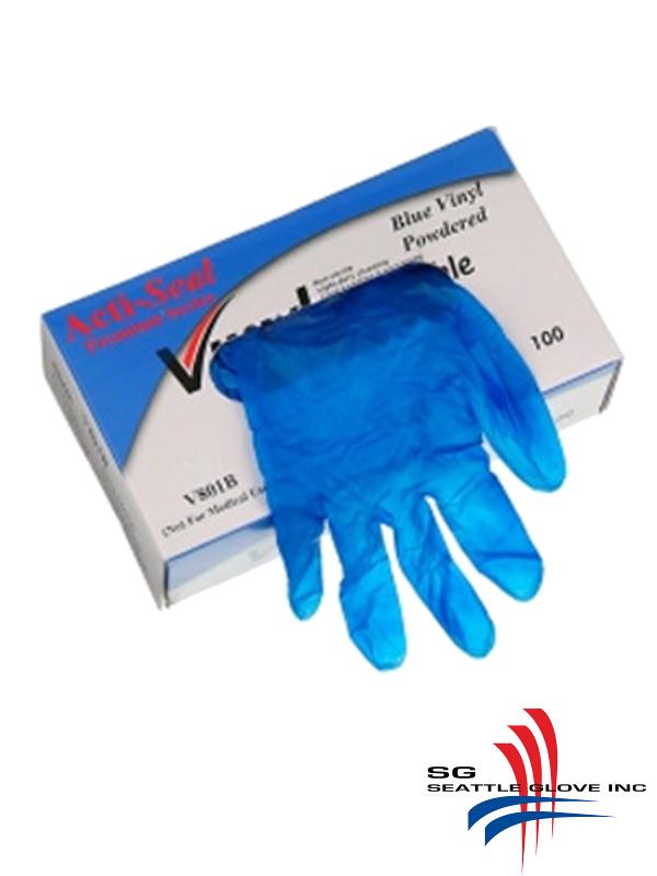 Seattle Glove V801B, Lightly Powdered, Industrial Grade, Blue Vinyl Disposable Gloves/$ per Case of 1,000