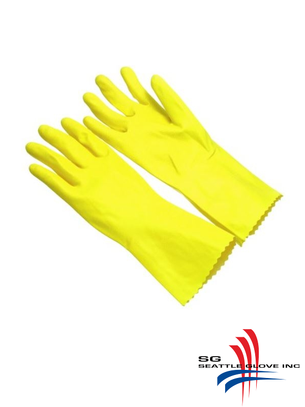 Seattle Glove LY17, Yellow Latex, Flock Lined, 17 Mil, Unsupported Glove/$ per Dozen