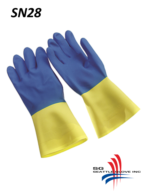 Seattle Glove LN28, Blue and Yellow Neoprene over Latex, Flock Lined, 28 Mil, Unsupported Glove/$ per Dozen