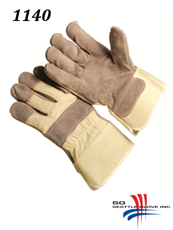 """Seattle Glove 1140, General Purpose Gloves, Slip-On, Leather Palm with Canvas Back, 2.5"""" Washable Duck Cuff, Lined Palm, Knuckle Strap./$ per Dozen"""
