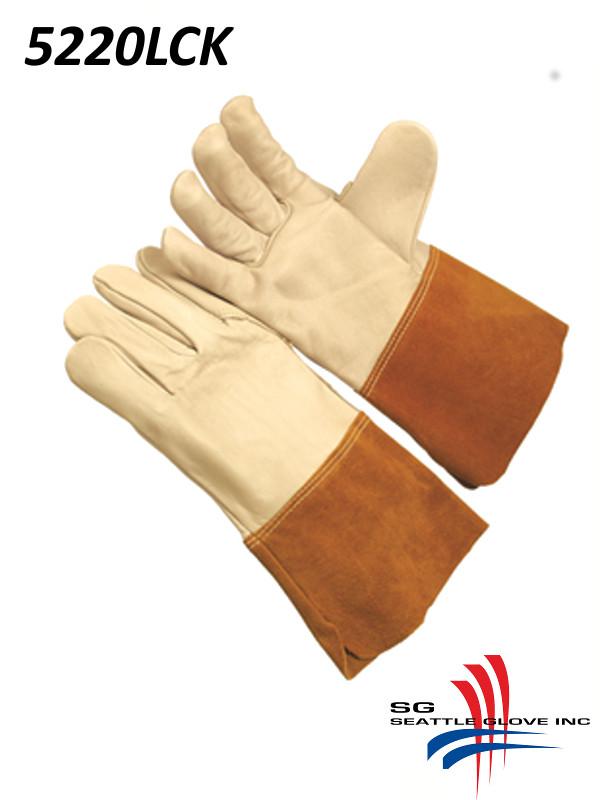 """Seattle Glove 5220LCK, B-Grade, Migtig Grain Welder, 4.5"""" Russet Split Leather Cuff, Kevlar Sewn/$ per Dozen"""