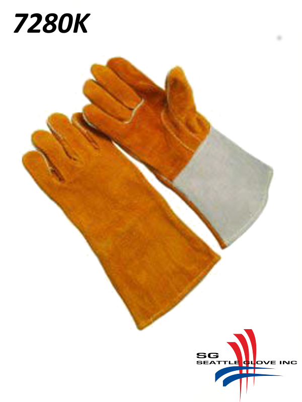 Seattle Glove 7280K, Russet Shoulder Leather, Reinforced Thumb Strap, Straight Thumb, Kevlar Sewn/$ per Dozen