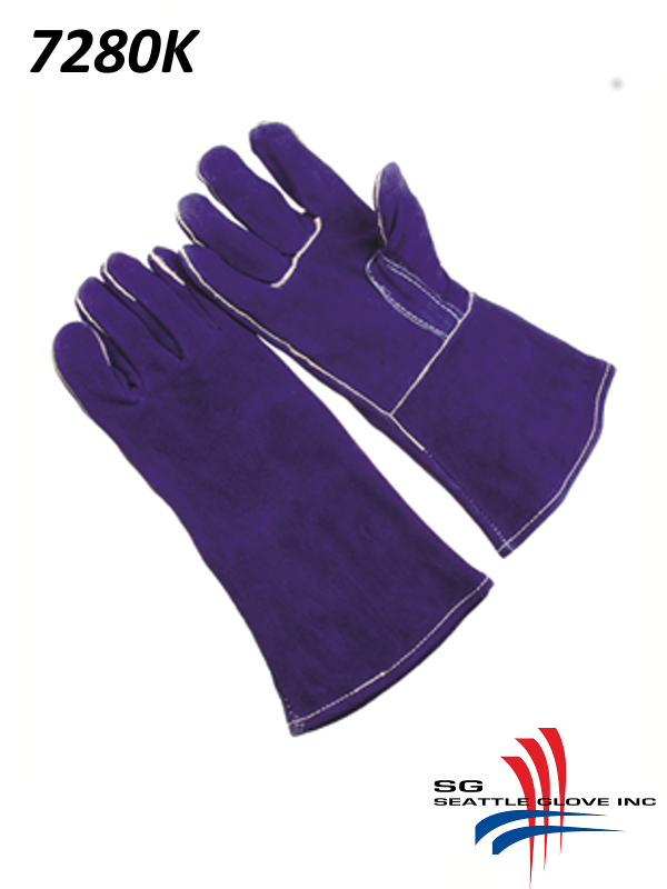 Seattle Glove 7380K, Premium Select Blue Shoulder Leather, Straight Thumb with Reinforced Thumb Strap, Sock Lined, Kevlar Sewn, Self Hemmed/$ per Dozen