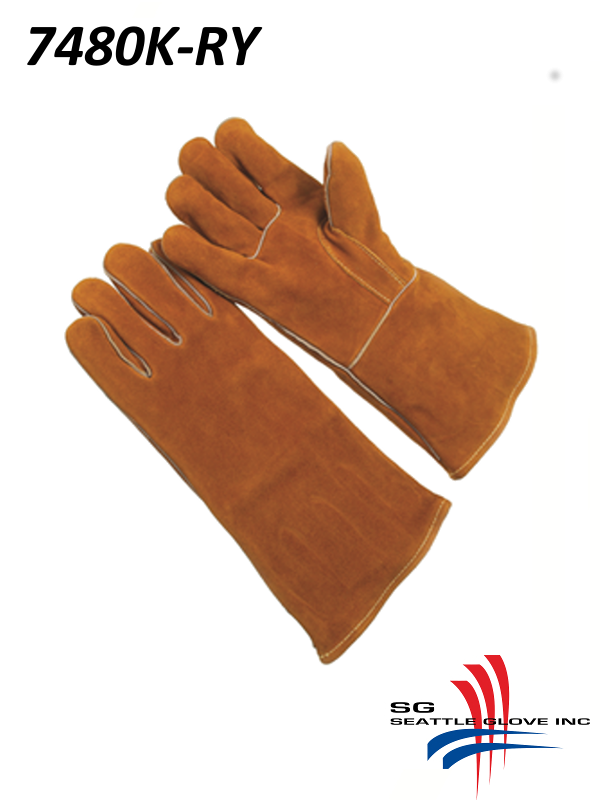 Seattle Glove 7480K-RY, Russet Side Split Leather, Straight Thumb, Black Fire Retardant Lining, Kevlar Sewn/$ per Dozen