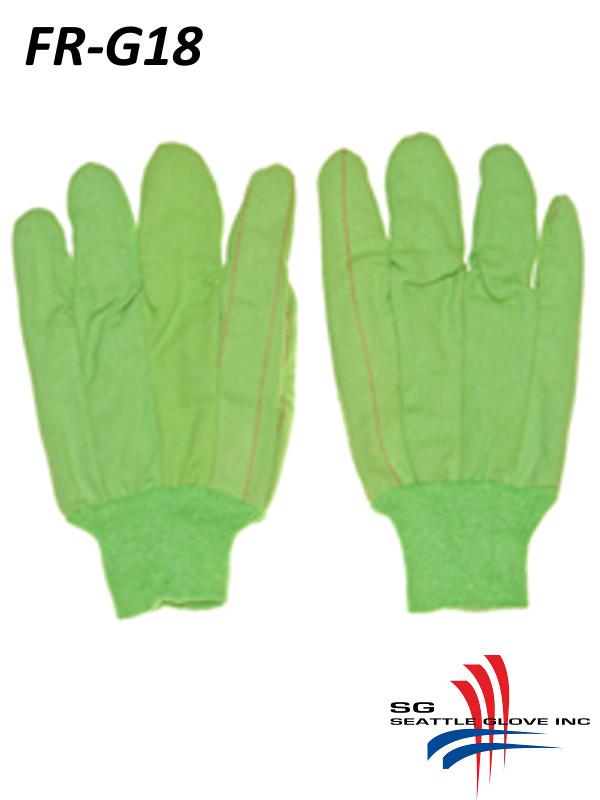 Seattle Glove FR-G18, Hi-Vis Green Fire Retardant Cotton Glove/$ per Dozen