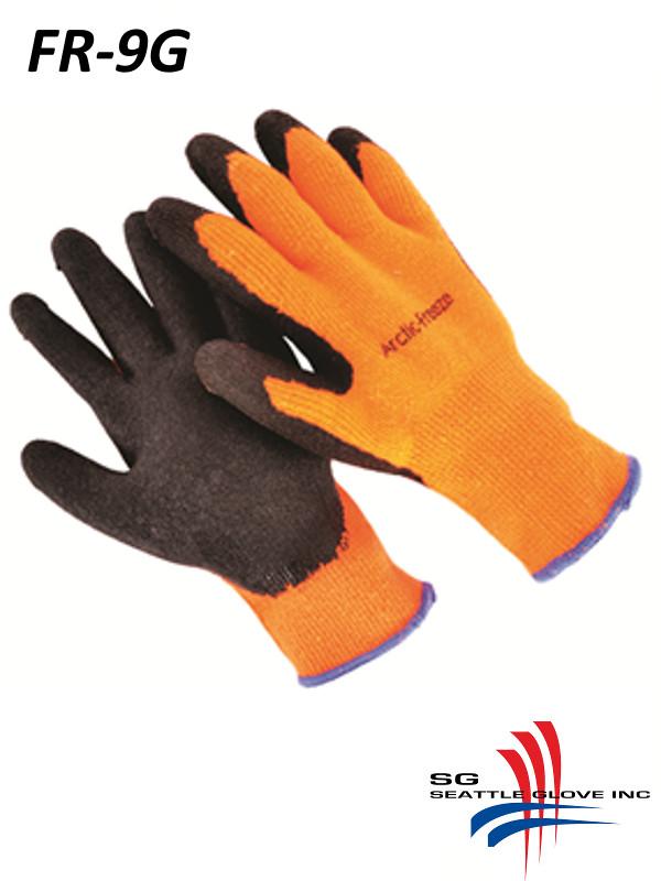 Seattle Glove Artic-OR, 10 Gauge, High Visibility 0range ,Fleece Lined, Black Micro-Foam, Latex Palm/$ per Dozen