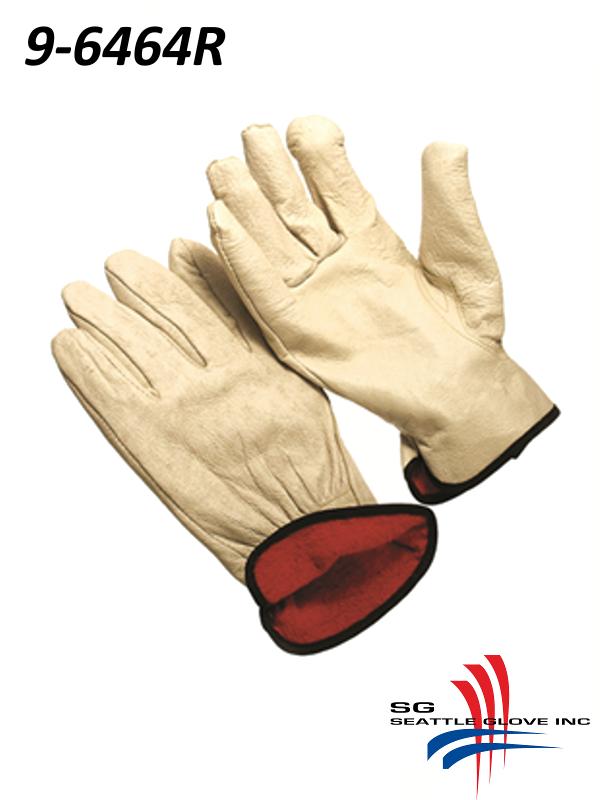 Seattle Glove 9-6464R, Select Pigskin Driver Glove, Red Fleece Lining with Keystone Thumb/$ per Dozen