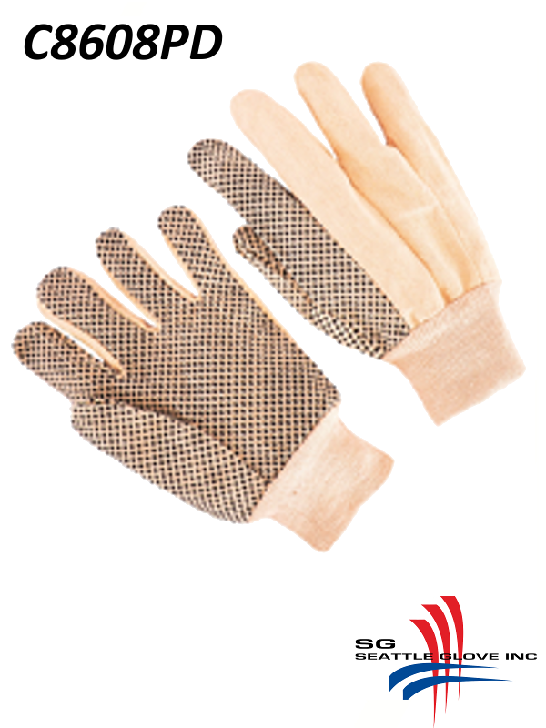 Seattle Glove C8608PD, Men's 8 oz. Cotton/Canvas Double Palm Gloves with Polka Dots, Knit Wrist/$ per Dozen