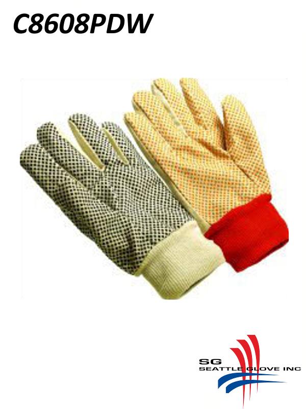 Seattle Glove C8608PDW, Women's 8 oz. Cotton/Canvas Double Palm Gloves with Polka Dots, Knit Wrist/$ per Dozen