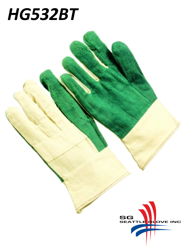 Seattle Glove HG532BT, Heavy Weight Green Palm Hot Mills with Burlap Lining, Triple Layer and Band Top Cuff/$ per Dozen