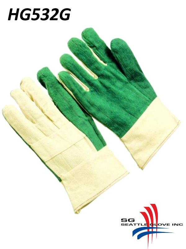 Seattle Glove HG532G, Heavy Weight, Green Palm, Hot Mills Gloves with Triple Layer and Burlap Gauntlet Cuff/$ per Dozen