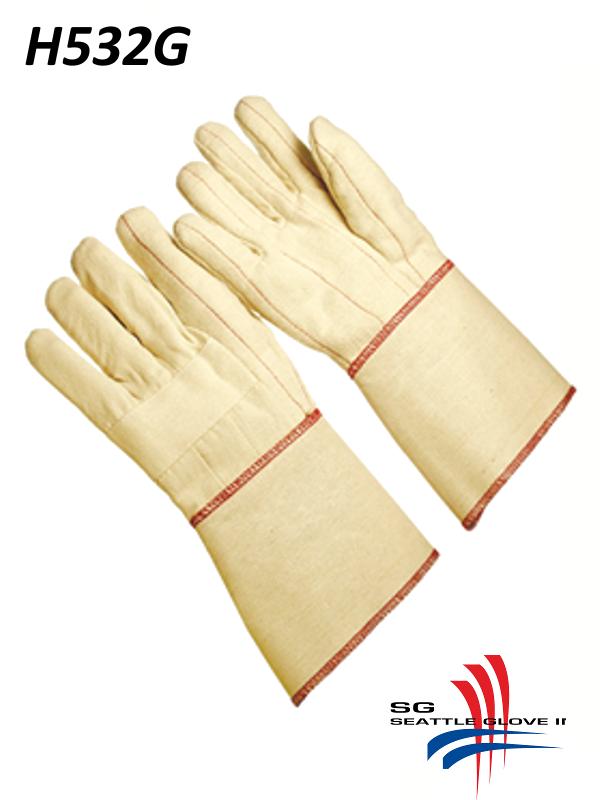 Seattle Glove H532G, Hot Mills Gloves with Triple Layer and Burlap Gauntlet Cuff/$ per Dozen