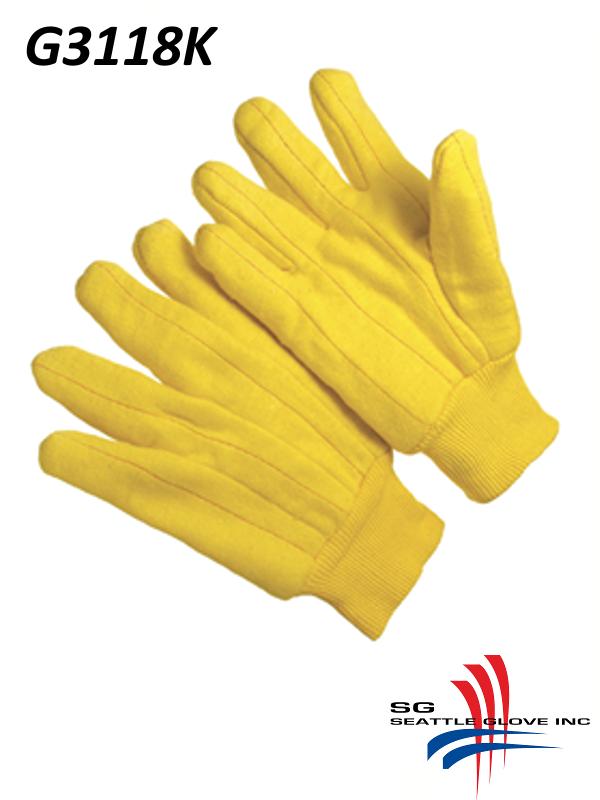 Seattle Glove G3118K, 100% Cotton Gold Shell, Cotton Lined, Chore Gloves with Knit Wrist /$ per Dozen