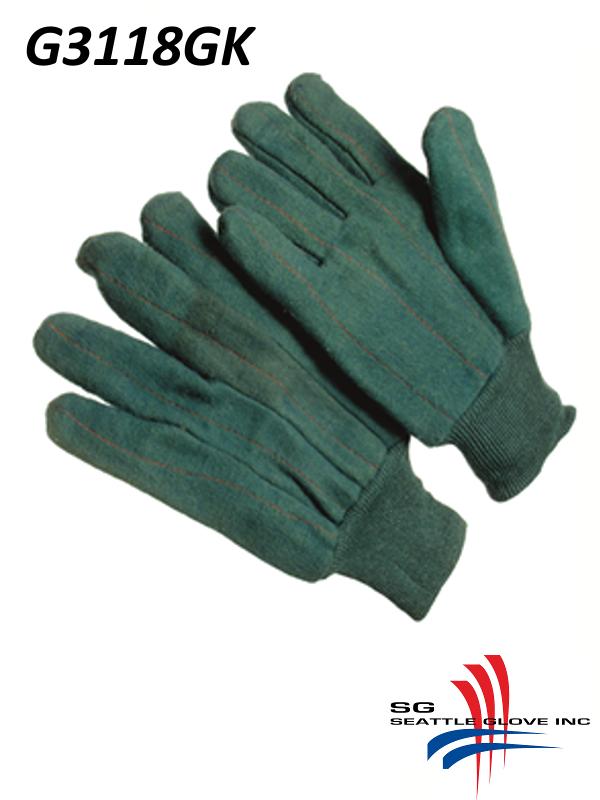 Seattle Glove G3118GK, 100% Cotton Green Shell, Cotton Lined, Chore Gloves with Knit Wrist /$ per Dozen