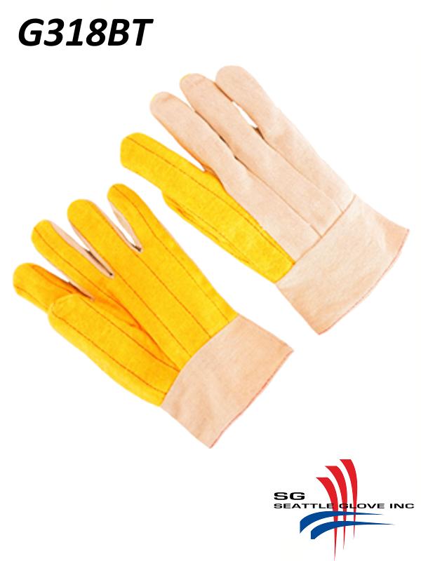 "Seattle Glove G318BT, 3 Finger Canvas Back, 2"" Band Top, Gold Chore Gloves/$ per Dozen"