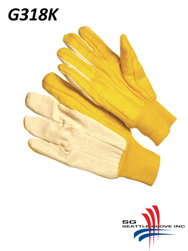 Seattle Glove G318K, 3 Finger Canvas Back, Knit Wrist, Gold Chore Gloves/$ per Dozen