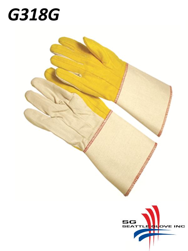 """Seattle Glove G318G, 3 Finger Canvas Back, 4.5"""" Plasticized Gauntlet Cuff/$ per Dozen"""