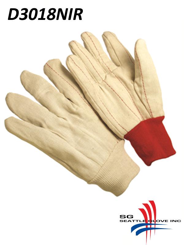 Seattle Glove D3018NIR, Double Palm Glove, Nap-In with RED Knit Wrist/$ per Dozen